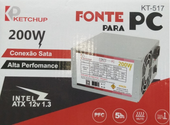 Fonte Atx Pc 200w Ketchup Kt-517 C/ Chave Bivolt