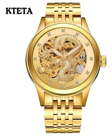 Relógio Altomatíco A Prova Dágua Dragão Esqueleto Dourado .