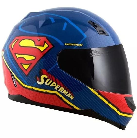 Capacete Norisk Ff391 Superman Symbol Azul/vermelho