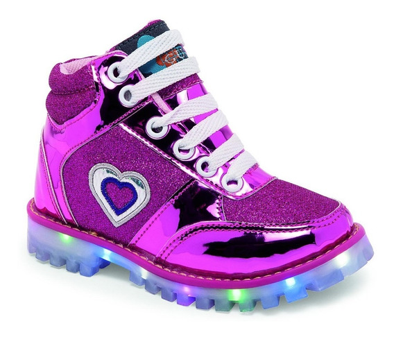Botas Casuales De Niña Color Rosa Brillante Con Luces Led