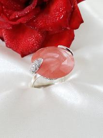 Natan Anel Moderno Ouro Branco Com Quartzo Rosa E Brilhantes