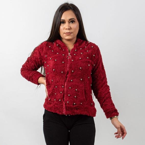 Jaqueta De Pelinho Feminina Vermelha Com Touca E Bolso