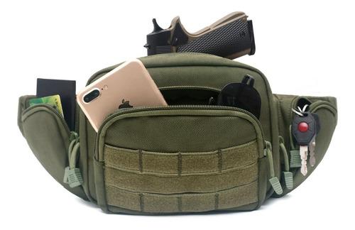 Imagen 1 de 8 de Cangurera Porta Arma Corta Verde Tactica Portacion Pistola