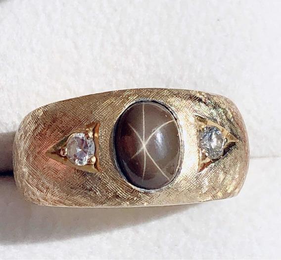 Anillo 18 K Con Zafiro Estrella Y Dos Diamantes ...