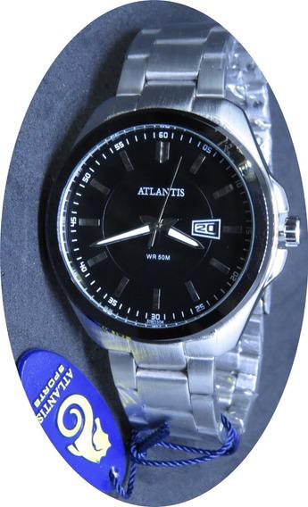 Relógio Aço Prata Inox Masculino Preto Top Original Atlântis