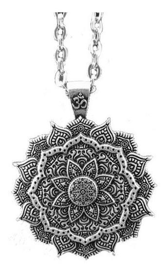 Colar Pingente Prata Mandala Meditação