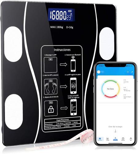 Báscula De Peso Bluetooth Con Indicador De Grasa Y Carga Usb