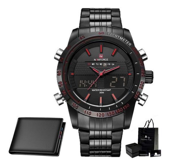 Relógio Masculino Naviforce Militar Original + Carteira Slim