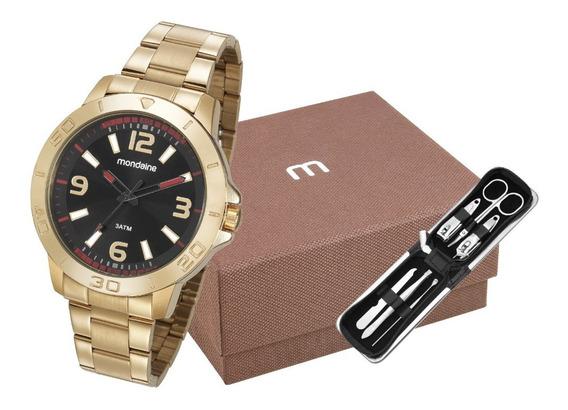 Kit Relógio Masculino Mondaine Dourado 99351gpmvde2k 1