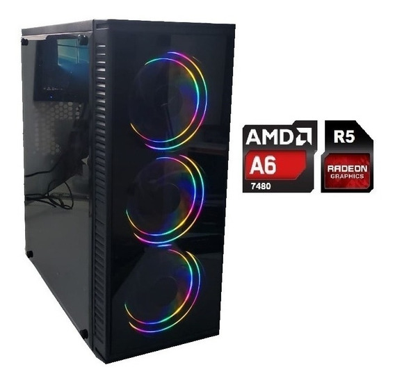 Cpu Gamer Barata Amd A6 7480 4gb S/ssd Video Radeon R5 3leds