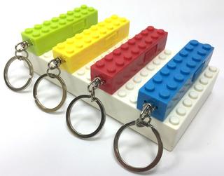 Kit 4x Mini Chaveiro Lanterna Led Bloco Lego Porta Chaves