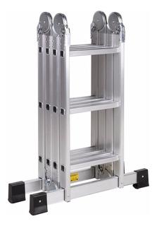 Escalera Aluminio Plegable Multifuncion 3.7 Mts 12 Escalones