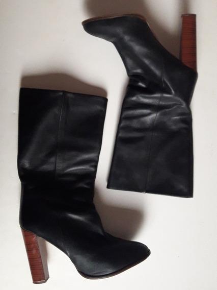 Botas Negras Zara De Cuero Taco Alto Originales Importadas