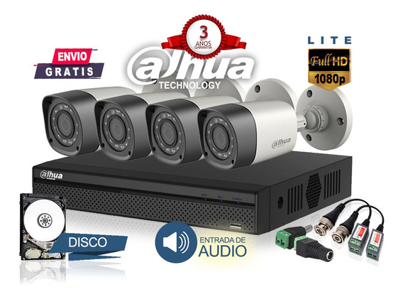 Kit Seguridad Camaras Hd 4 Dahua Dvr Full Hd Hdcvi Disco 1tb