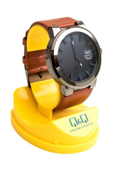 Reloj Q & Q Para Hombre/ Correa De Cuero Gruesa - 3 Colores