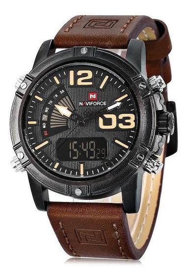 Relógio Masculino Naviforce 9095 D/ Couro Genuíno