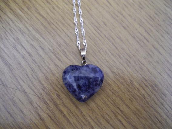 Colar Coração Pedra Natural Sodalita Prateado Azul