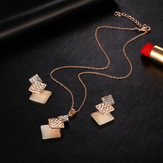 Collar Y Aretes Largo Cristal Geométrico (set)