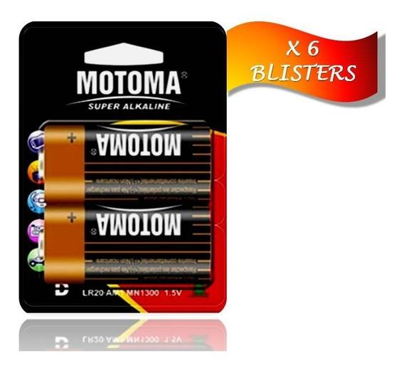 Pila Batería Alcalina Tipo D 1.5 V Motoma Pack 6blisters 12u