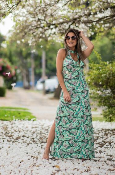 Vestido Longo Malha Bojo Moda Feminina Primavera Floral