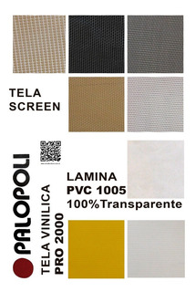Rollo Tela Screen 5% Pvc 2,50 X 25m Blanco Y Color Palopoli