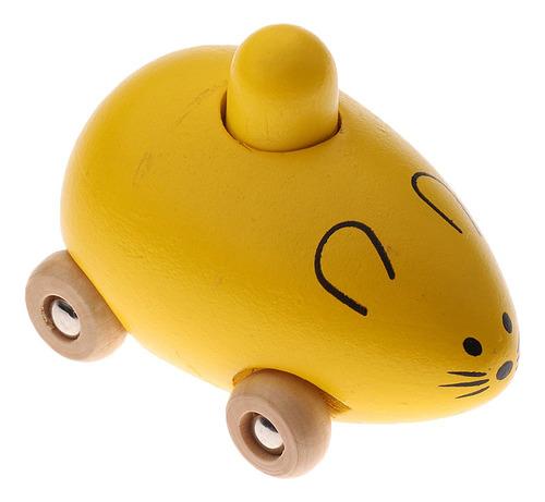 Carro De Madeira Rato Chocalho Crianças Brinquedos Amarelo