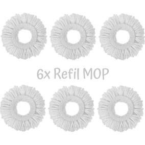 Kit 6 Refil Mop 360 Esfregão Giratório