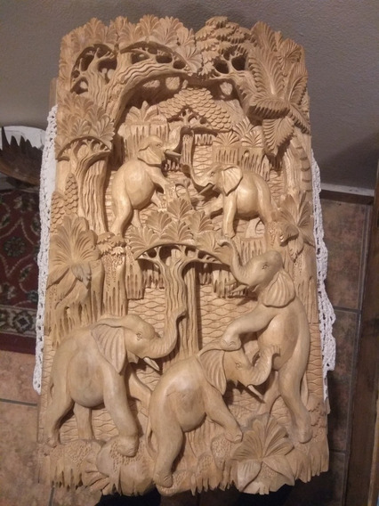Cuadro Tallado De Madera 30 X 50 Cm Elefantes