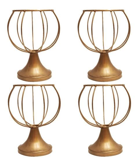 Kit 4 Vasos Armação 20cm Dourado Aramado Modelo Bolinha - Melhor Preço Do Mercado Livre