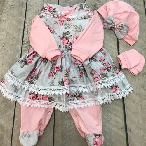Saída De Maternidade Floral Menina Rosa 5 Peças Caixa Mdf