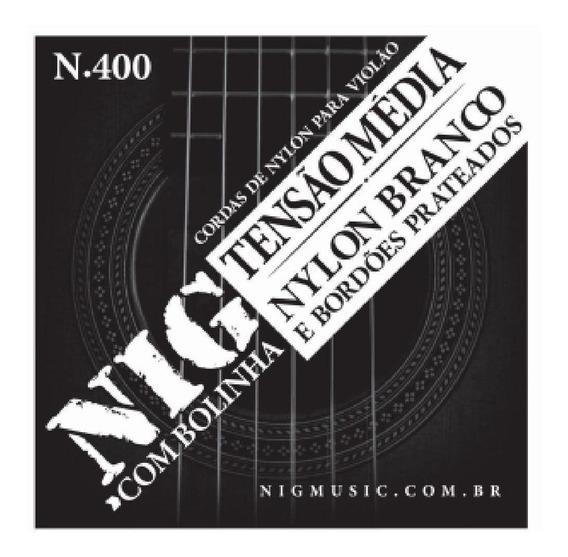 Encordoamento Violão Nylon Branco Nig N400 Tensão Média