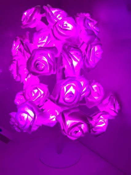 Árvore Abajur Led Decoração Flor 24 Rosas Cor Roxo 110v