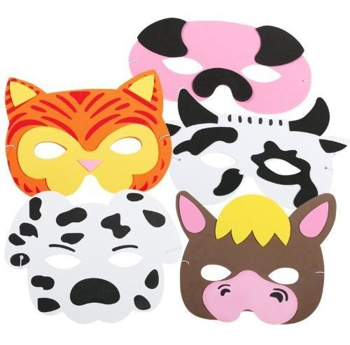 Mascaras De Animales De Granja  12 Piezas