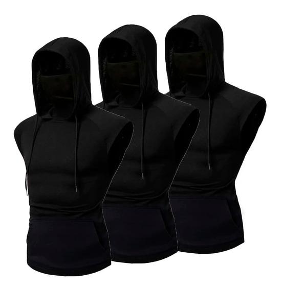 Kit 3 Regata Masculina Ninja C Mascara Embutida Frete Gratis