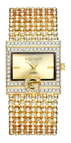 Relógio De Luxo Strass Feminino Lindo Demais Quartzo