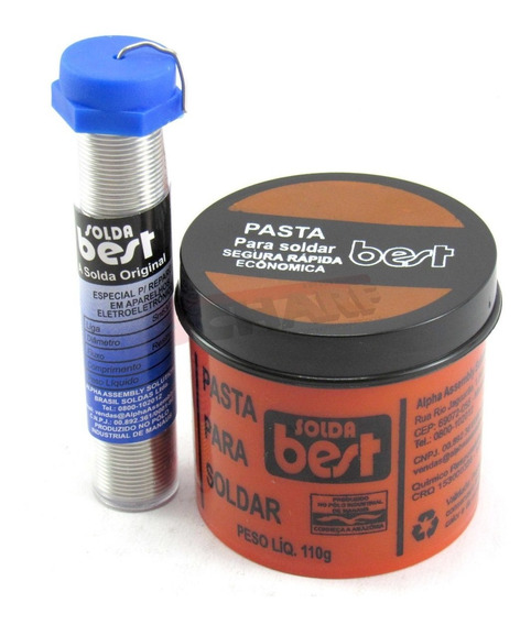 Kit Best Tubo Estanho 1mm 25g 4m + Pasta Para Soldar Best