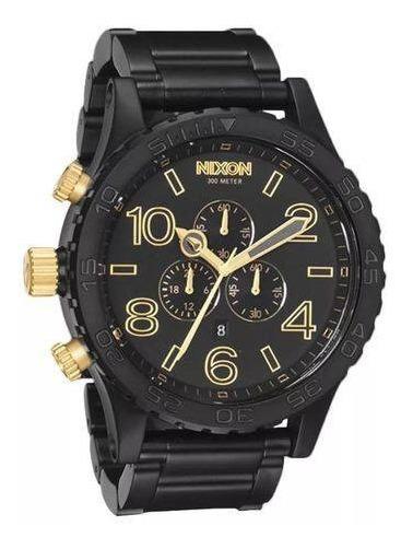 Relógio G0438 Nixon Black / Golden / Pulseira Aço C/ Caixa