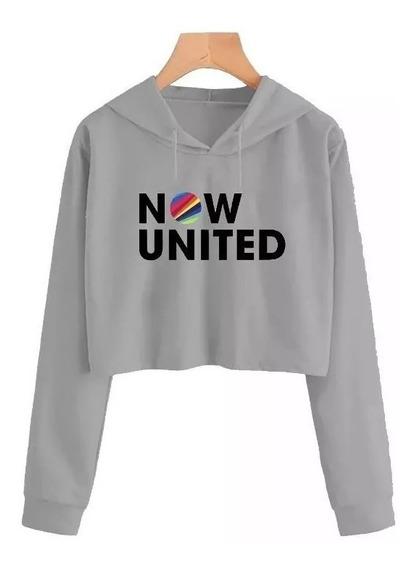 Cropped Now United Moletom Blusa Casaco Feminino -branco