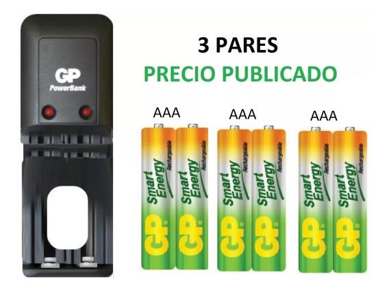 Cargador Gp + Batería Pilas Aaa Recargables Gp X3 Pares