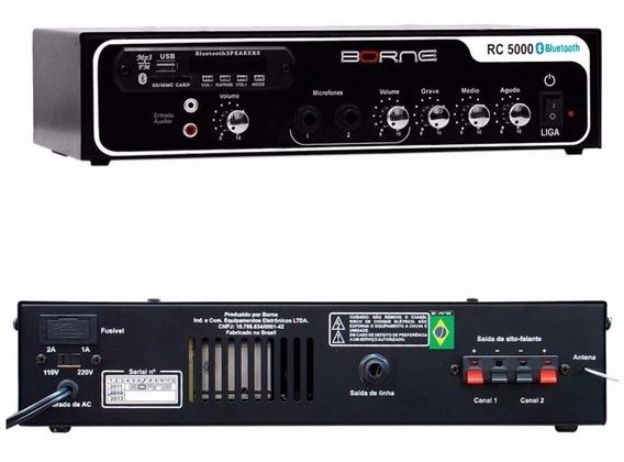 Receiver Amplificador 40w Rc 5000 Borne C/usb Bluetooth