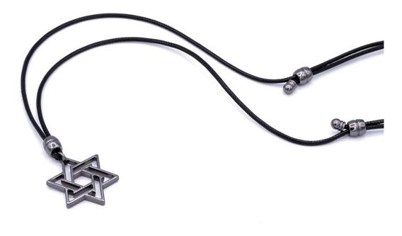 Colar Cordão Masculino Estrela De Davi Ajustável