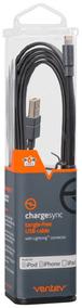Cable Ventev Plano De 6ft, Conector Lightning, Color Negro