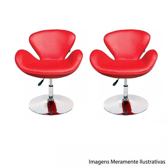 Kit Conjunto 2 Poltronas Tulipa Vermelha Suede Giratória Moderna Designer Decoração Escritório Recepção Sala Lounge