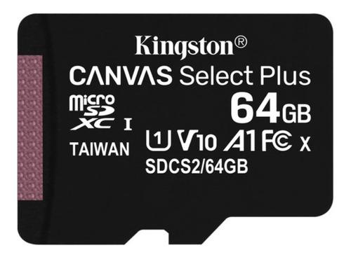 Imagen 1 de 2 de Memoria Micro Sd 64gb Kingston Select Plus + Adaptador