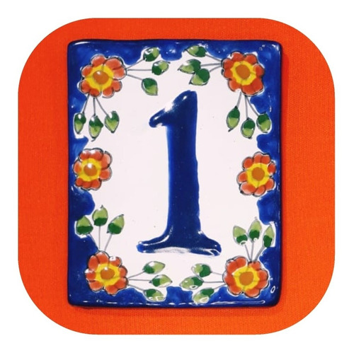 Imagen 1 de 3 de Número Placa De Talavera Poblana 1 Pza Color De Casa Nz