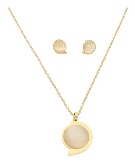 Collar Y Aretes Piedra Mediana | Dorado