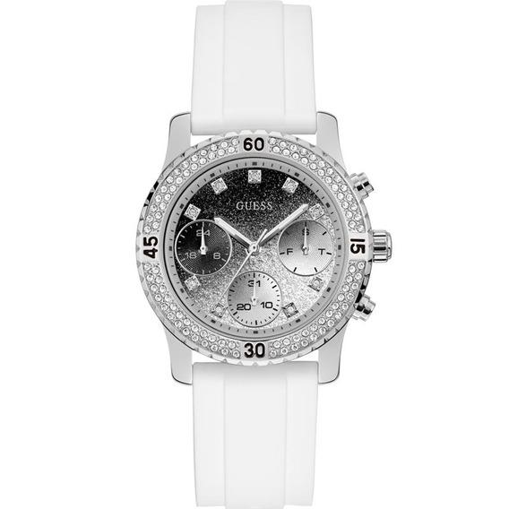 Relógio Guess Branco Prata Glitter Strass Luxo 92595l0gsnu8