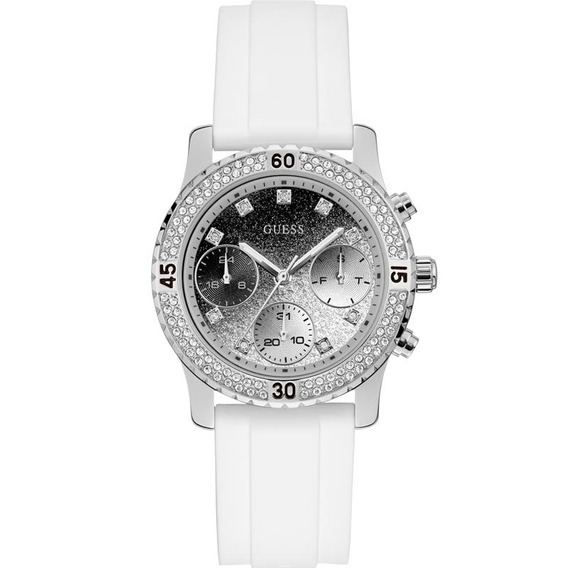 Relógio Guess Branco Prata Glitter Strass Lux Original Nfe