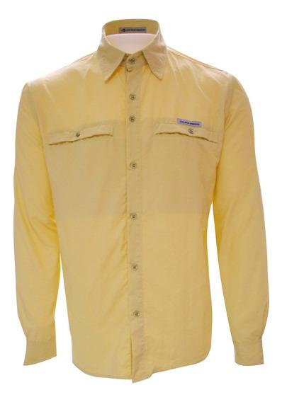 Camisa Masculina Outdoor Trilha Guepardo Trek Fish Amarela