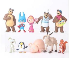 Masha E O Urso E Os Amigos Miniaturas 10 Peças Frete Grátis